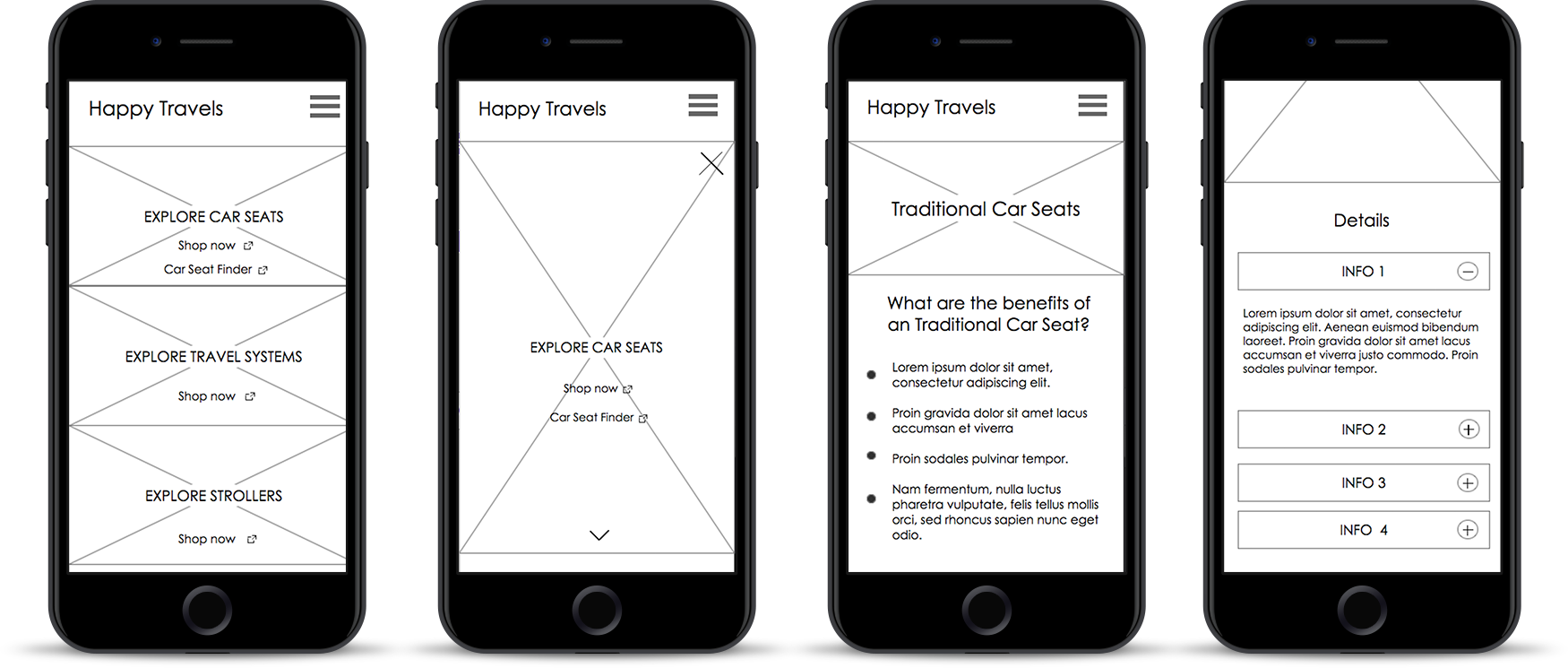 Happy Travels wireframe mobile